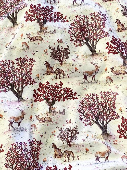 Ranita Santi ciervos lobos y árboles granates