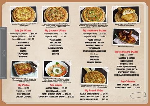 MyPizza Menu Brochure Page 2