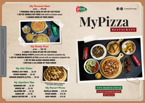 MyPizza Menu Brochure Page 1