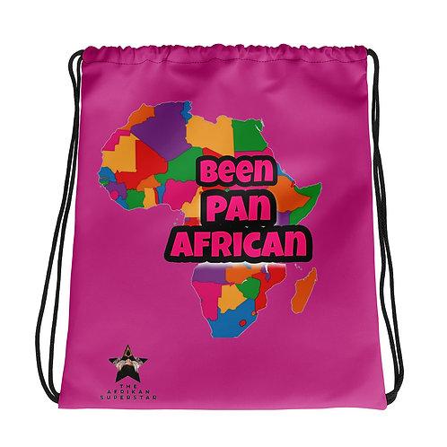 "Hot Pink ""Been Pan African""Drawstring bag"