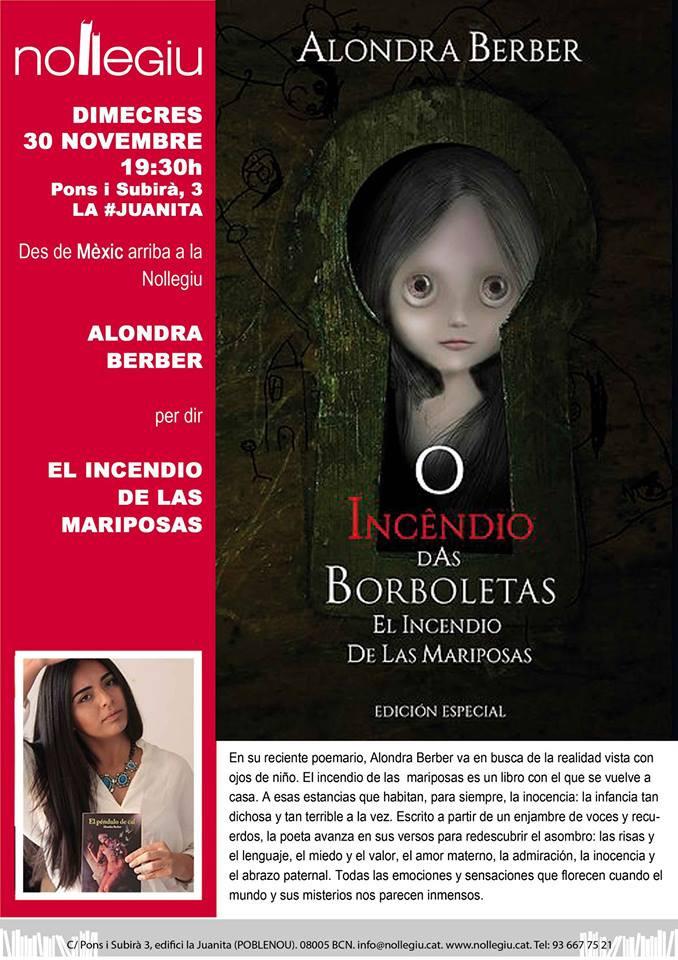 Presentación de libro El incendio de las mariposas de Alondra Berber en Nollegiu, Barcelona, Cataluña