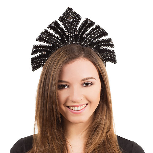 Black Flapper Headband with Gems