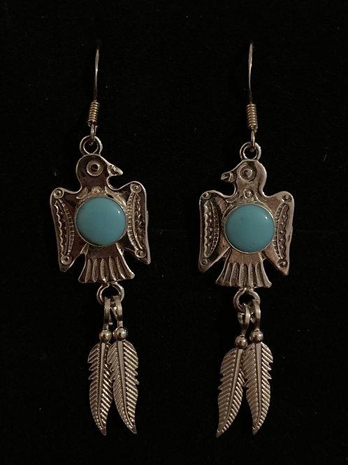 Bird and turquoise bird earrings