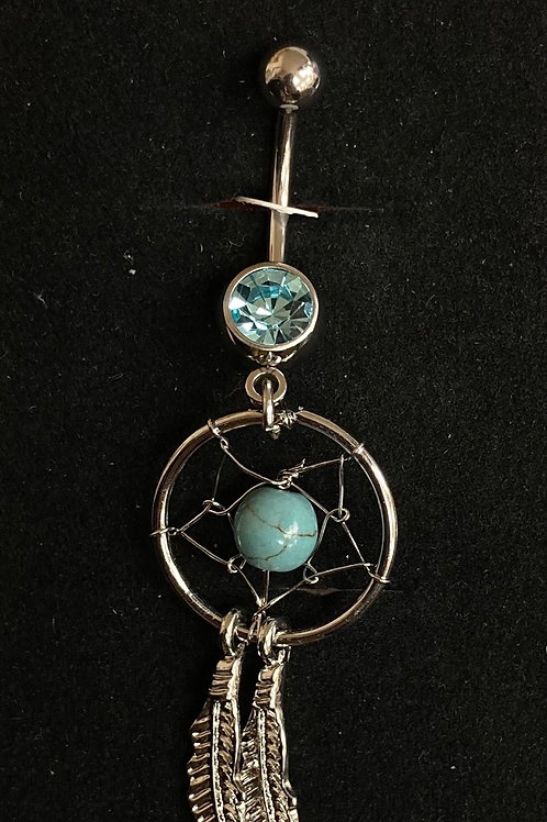 Turquoise dream catcher belly bar