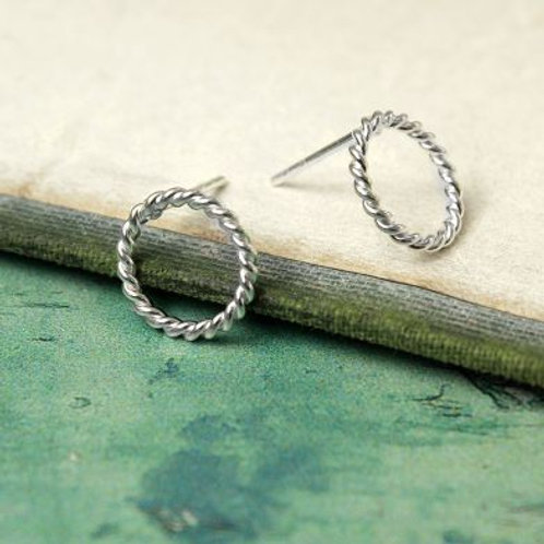 Twisted Silver Circle Studs