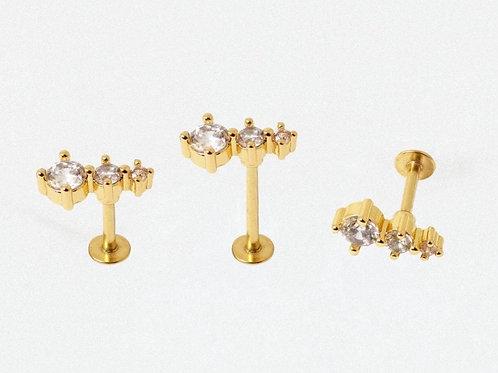 Gold Triple CZ Labret