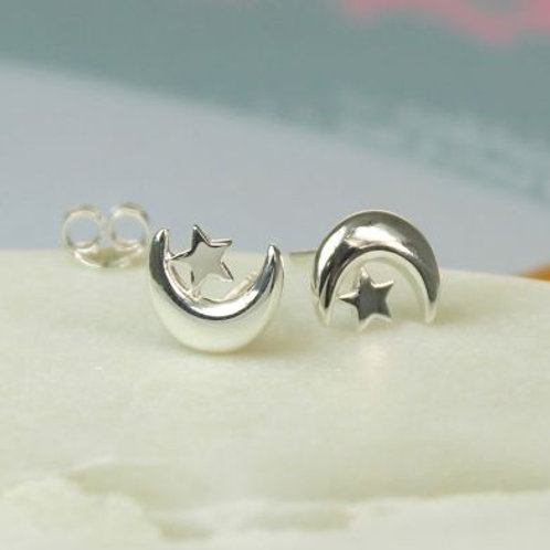 Star and Moon Studs