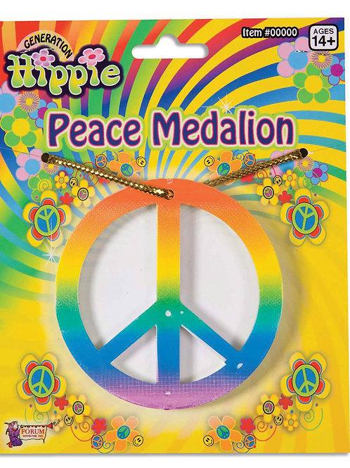 Rainbow Peace Sign Medalion
