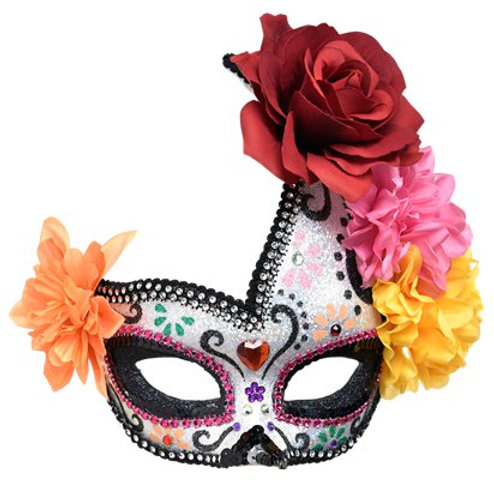 Day of the Dead Mask with Feathers