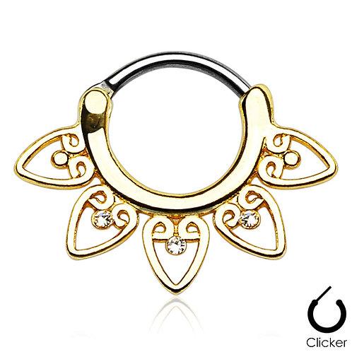 Gold Filigree Heart Septum Clicker