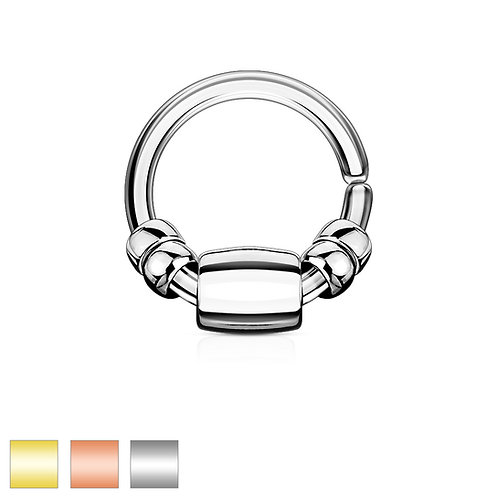 Bead and Bar Twist Ring