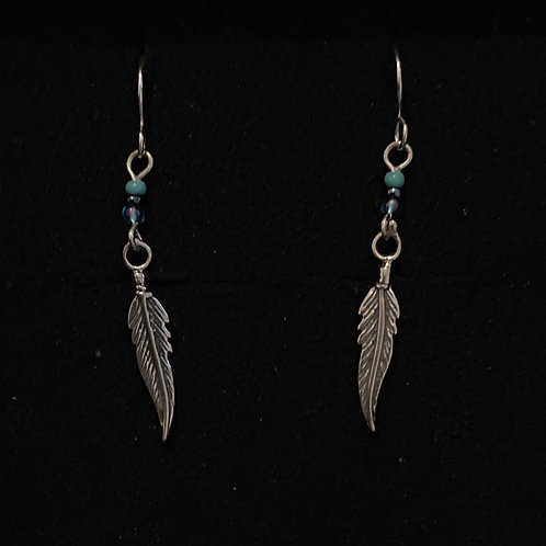 Turquoise feather drops