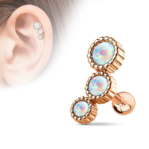 Rose Gold Triple Opal Barbell