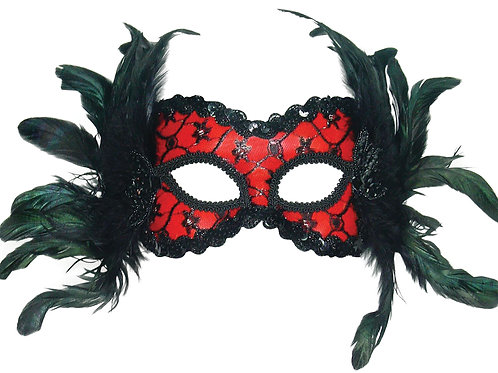 Black Feather Carnival Mask