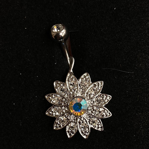 Large gem flower belly bar