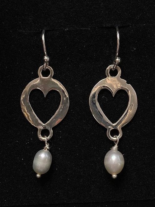 Heart and Pearl drop earrings