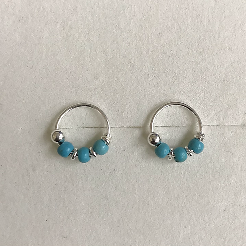 Turquoise and Silver Ball Hoops