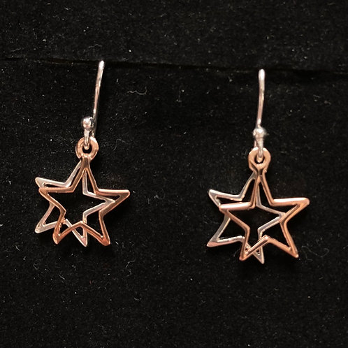 Silver and rose gold star drop earrings