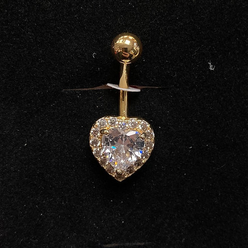 Gold CZ heart belly bar