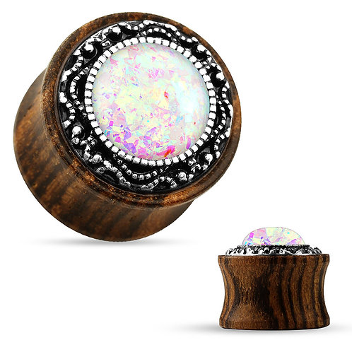 Tribal Opal Wooden Plug