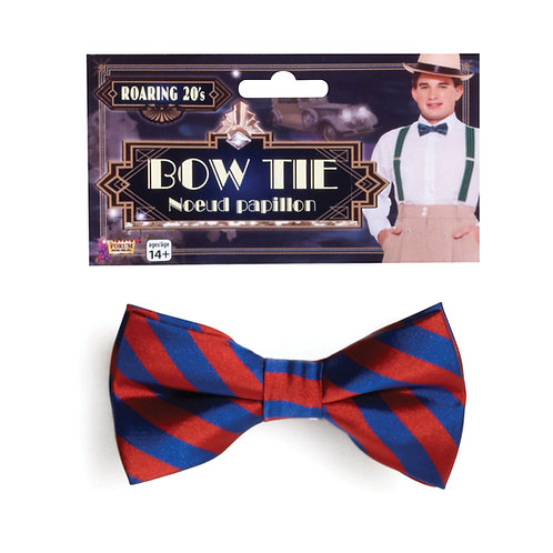 Red and Blue Striped Bow Tie
