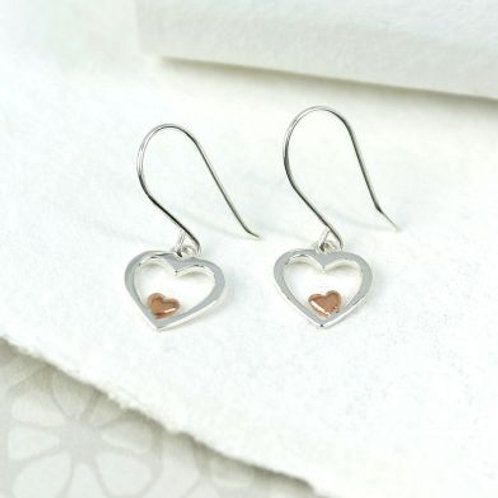 Silver and Rose Gold Heart Drops