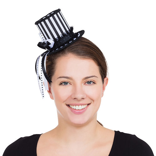 Harlequin Striped Mini Top Hat