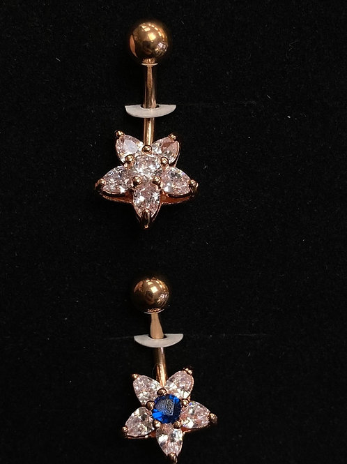 Rose gold flower belly bar