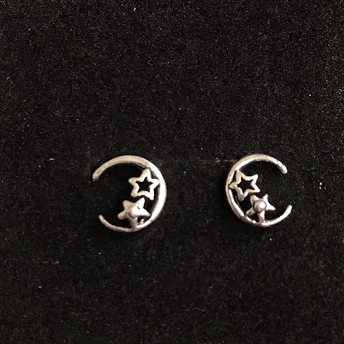 Crescent Moon with Stars Studs