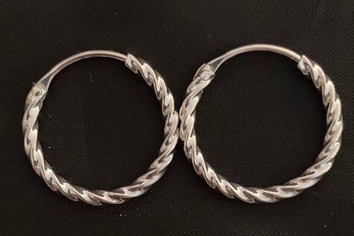Silver twist hoops