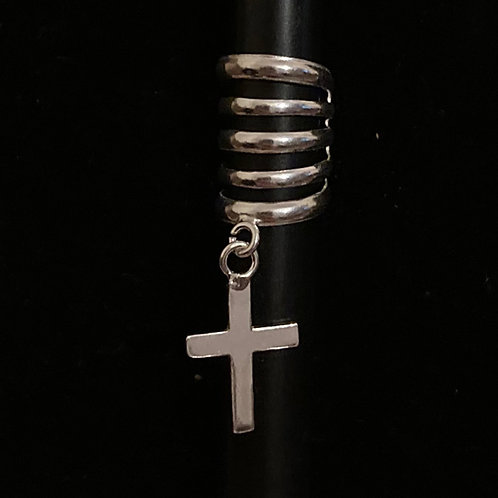 Large dangle cross ear cuff