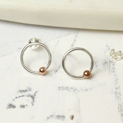 Silver and Rose Gold Circle Studs