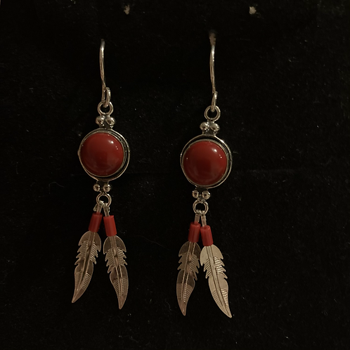 Carnelian feather drops