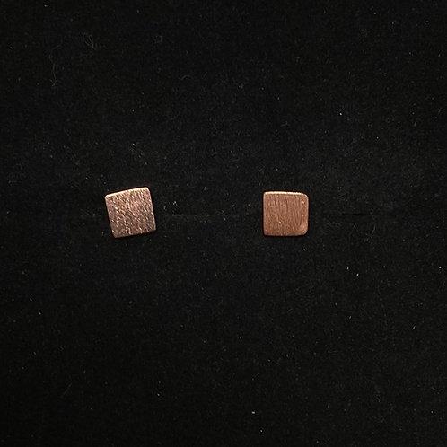 Square rose gold studs