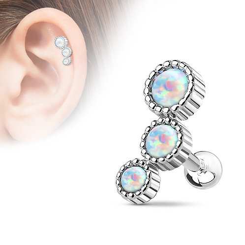 Triple Round Opal Barbell