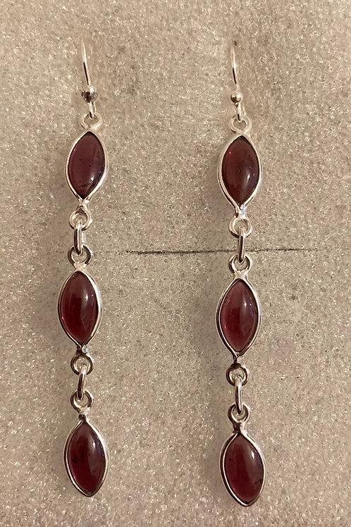 Triple garnet drop earrings