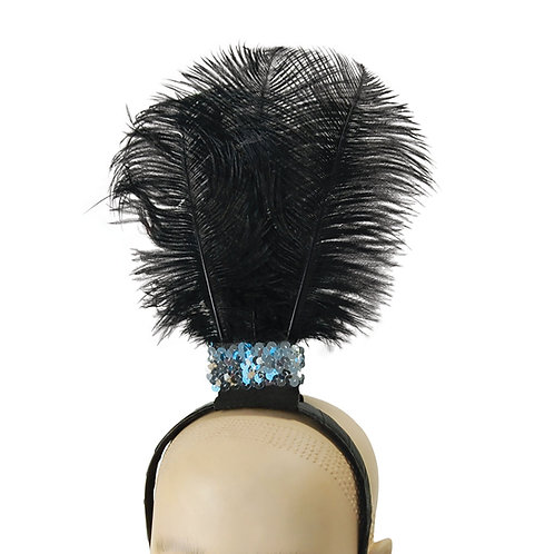 Flapper Headband with 3 Feathers