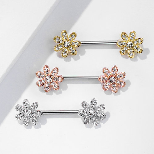 CZ Paved Flower Nipple Bar