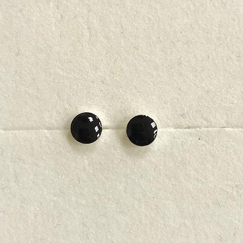 Black Enamel Disc Studs