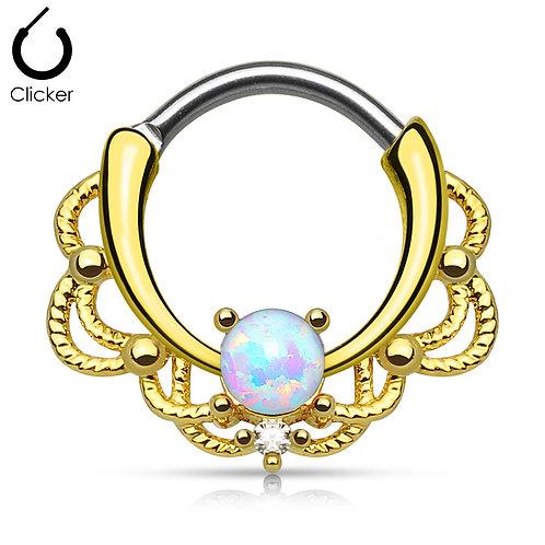 Gold Opal Septum Ring