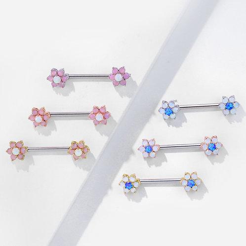 Opal Flower Nipple Bar