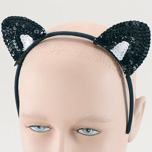 Black Sequin Cat Ears