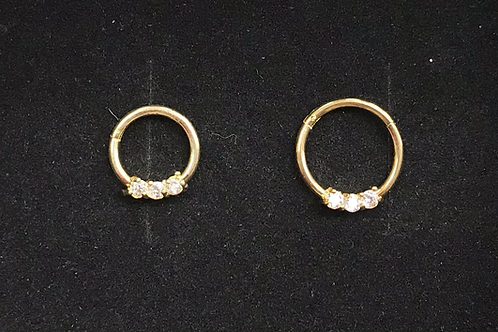 Gold or Rose Gold Clawset Jewelled Hinged Segment Ring