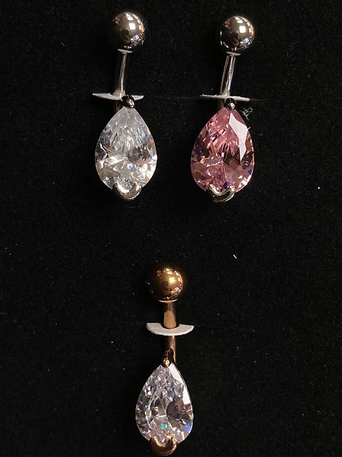 CZ tear drop belly bar