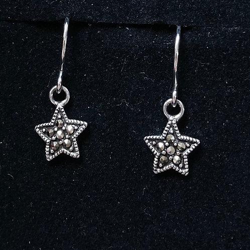 Marcasite star drop earrings