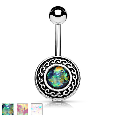 Tribal Swirl Opal Belly Bar