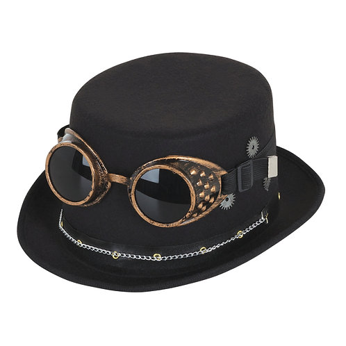 Steampunk Top Hat with Goggles and Gears