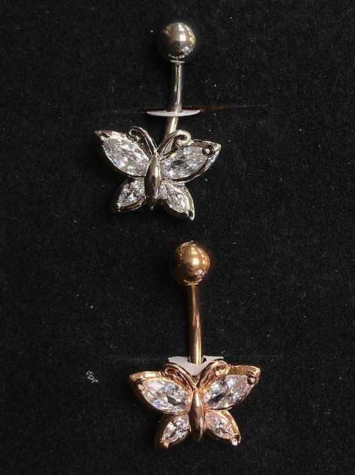 CZ butterfly belly bar