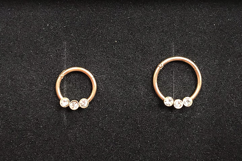 Gold or Rose Gold Jewelled Hinged Segment Ring