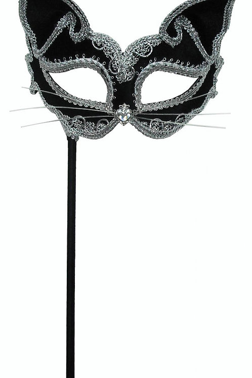 Handheld Silver lined Cat Mask
